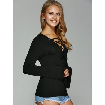 Bell Sleeve Lace-Up T-Shirt - BLACK BLACK