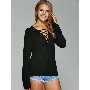 Bell Sleeve Lace-Up T-Shirt - L L