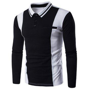 Faux Pocket Color Block Long Sleeve Polo Shirt