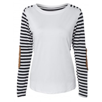 Round Collar Stripe Print Patchwork T-Shirt