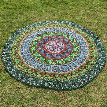 Autumn Flower Mandala Print Round Beach Throw