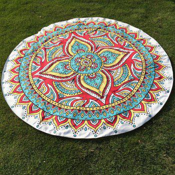 Autumn Ethnic Mandala Print Round Beach Throw