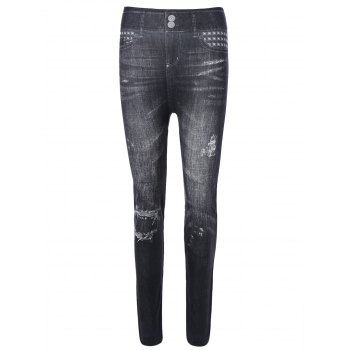 Stud Ripped Pattern Jeggings