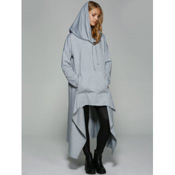 Asymmetrical Pocket Design Loose-Fitting Neck Hoodie - LIGHT GRAY LIGHT GRAY