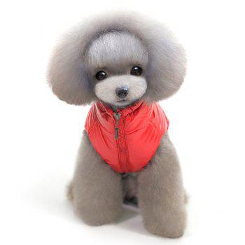 Thickening Hooded Glossy Down Jacket Winter Warm Two Feet Puppy Clothes - RED RED
