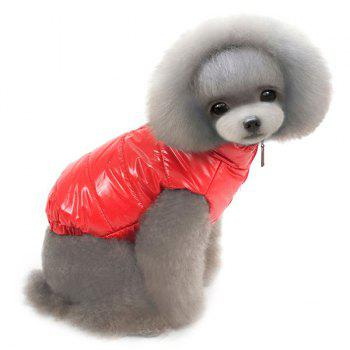 Thickening Hooded Glossy Down Jacket Winter Warm Two Feet Puppy Clothes - L L