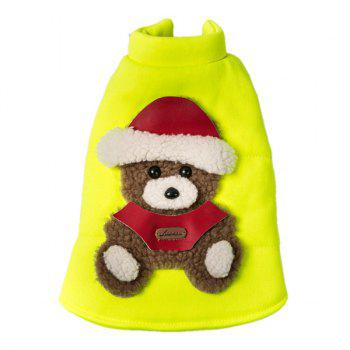 Soft Nap Little Bear Fluorescent Jacket Winter Warm Christmas Puppy Clothes - YELLOW YELLOW
