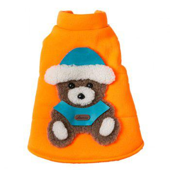 Soft Nap Little Bear Fluorescent Jacket Winter Warm Christmas Puppy Clothes - ORANGE RED XL