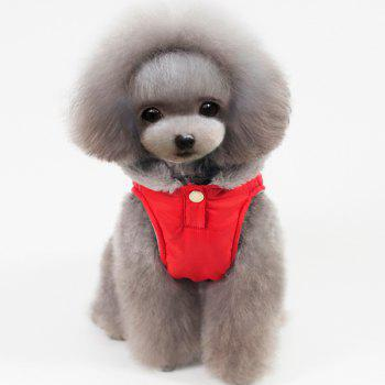 Hooded Belt Down Cotton Padded Winter Warm Two Feet Puppy Clothes - RED XL