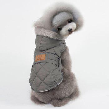 Hooded Belt Down Cotton Padded Winter Warm Two Feet Puppy Clothes - GRAY L