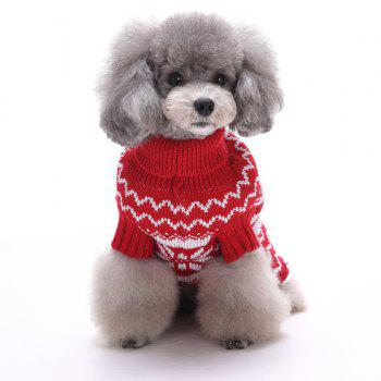Knitting Snows Wave Sweater Christmas Winter Warm Puppy Clothes - RED RED
