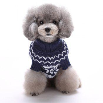 Knitting Snows Wave Sweater Christmas Winter Warm Puppy Clothes - DEEP BLUE DEEP BLUE