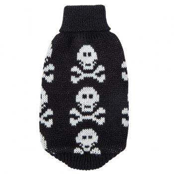 Halloween Small Skulls Knit Crochet Winter Pet Dog Clothes - BLACK M