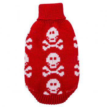 Halloween Small Skulls Knit Crochet Winter Pet Dog Clothes - RED XS