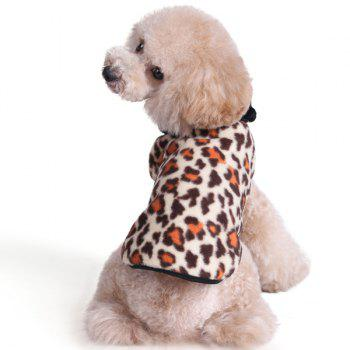 Thickening Soft Nap Winter Warm Leopard Print Jacket Coat Puppy Clothes - BROWN BROWN