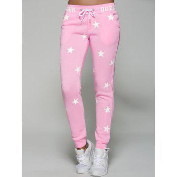 Star Print Drawstring Gym Jogger Pants
