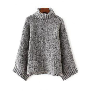 Turtle Neck Marled Batwing Sweater