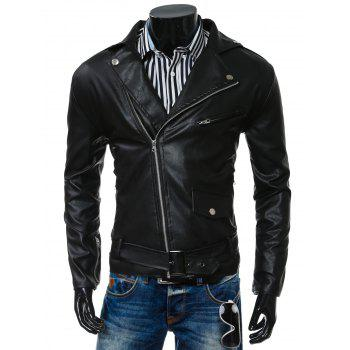 Buy Belt Embellished Turn-Collar PU-Leather Epaulet Long Sleeve Men's Jacket