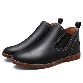 Stitching Slip-On PU Leather Ankle Boots - BLACK 43