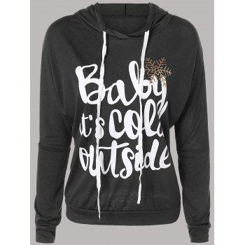 Letter Print Snow Pattern Plus Size Hoodie - DEEP GRAY DEEP GRAY