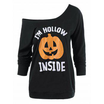 Skew Neck Pumpkin Lamp Print Halloween T-Shirt - BLACK BLACK