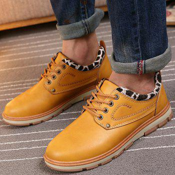 PU Leather Leopard Splice Stitching Casual Shoes - EARTHY 40
