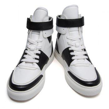 Casual Lace-Up PU Leather High Top Shoes - WHITE 43