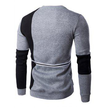 Braid Embellished Color Block Splicing Sweatshirt - BLACK/GREY 2XL