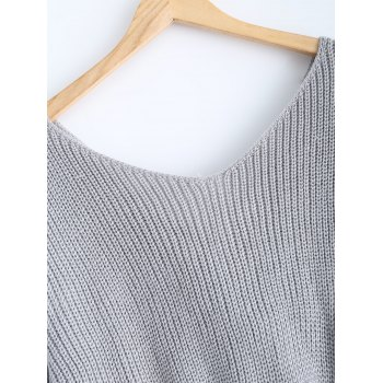 V Neck Knotted Back Chunky Jumper Sweater - GRAY ONE SIZE