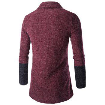 Slim-Fit Shawl Collar Color Block Cardigan - WINE RED M