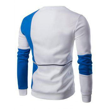 Braid Embellished Color Block Splicing Sweatshirt - BLUE/WHITE M