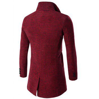 Turn-Down Collar Houndstooth Pattern Single-Breasted Woolen Coat - RED M
