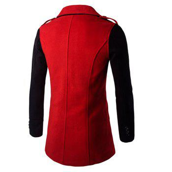 Turn-Down Collar Color Block Splicing Double-Breasted Woolen Coat - RED 2XL