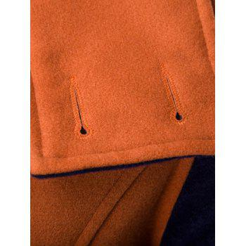 Col rabattu Coat Color Block Splicing Double-Breasted Woolen - Orange L