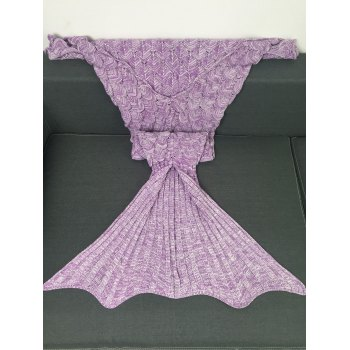 Soft Fish Scale Knitted Sofa Wrap Mermaid Blanket - LIGHT PURPLE
