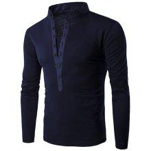 Long Sleeve Button Fly Grandad Collar T-Shirt