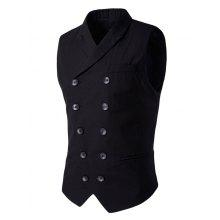 Lapel Edging Double-Breasted Waistcoat