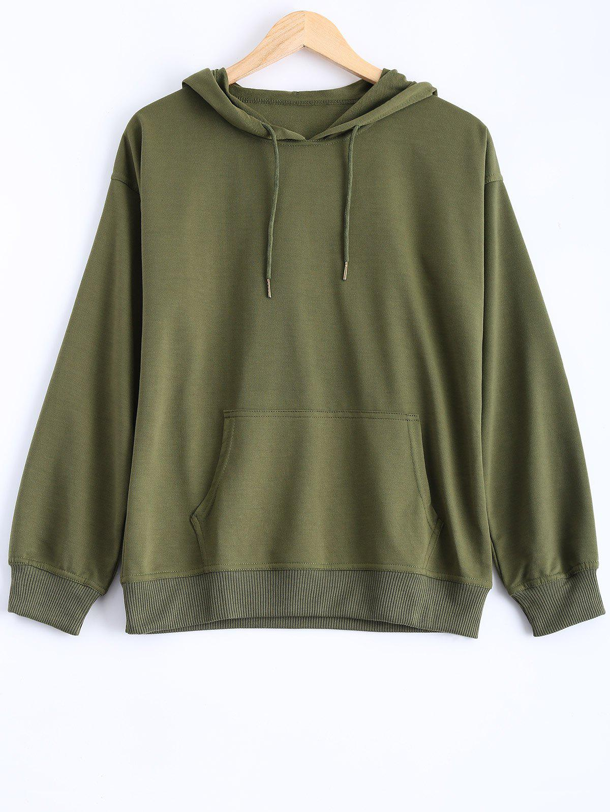 Pocket Design Pullover Hoodie - ARMY GREEN XL