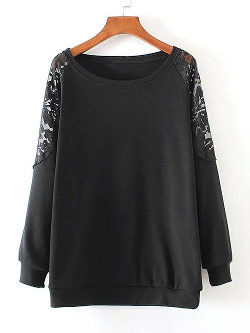 Lace Patchwork Pullover Sweatshirt - BLACK 3XL