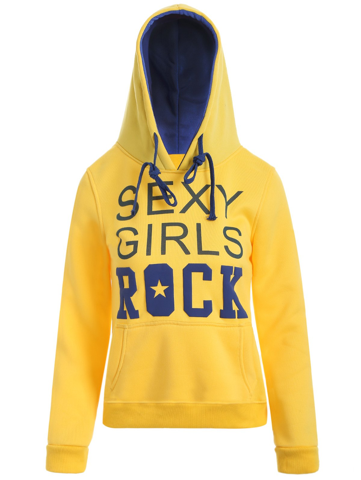 Drawstring Sexy Girls Printed Hoodie - YELLOW L