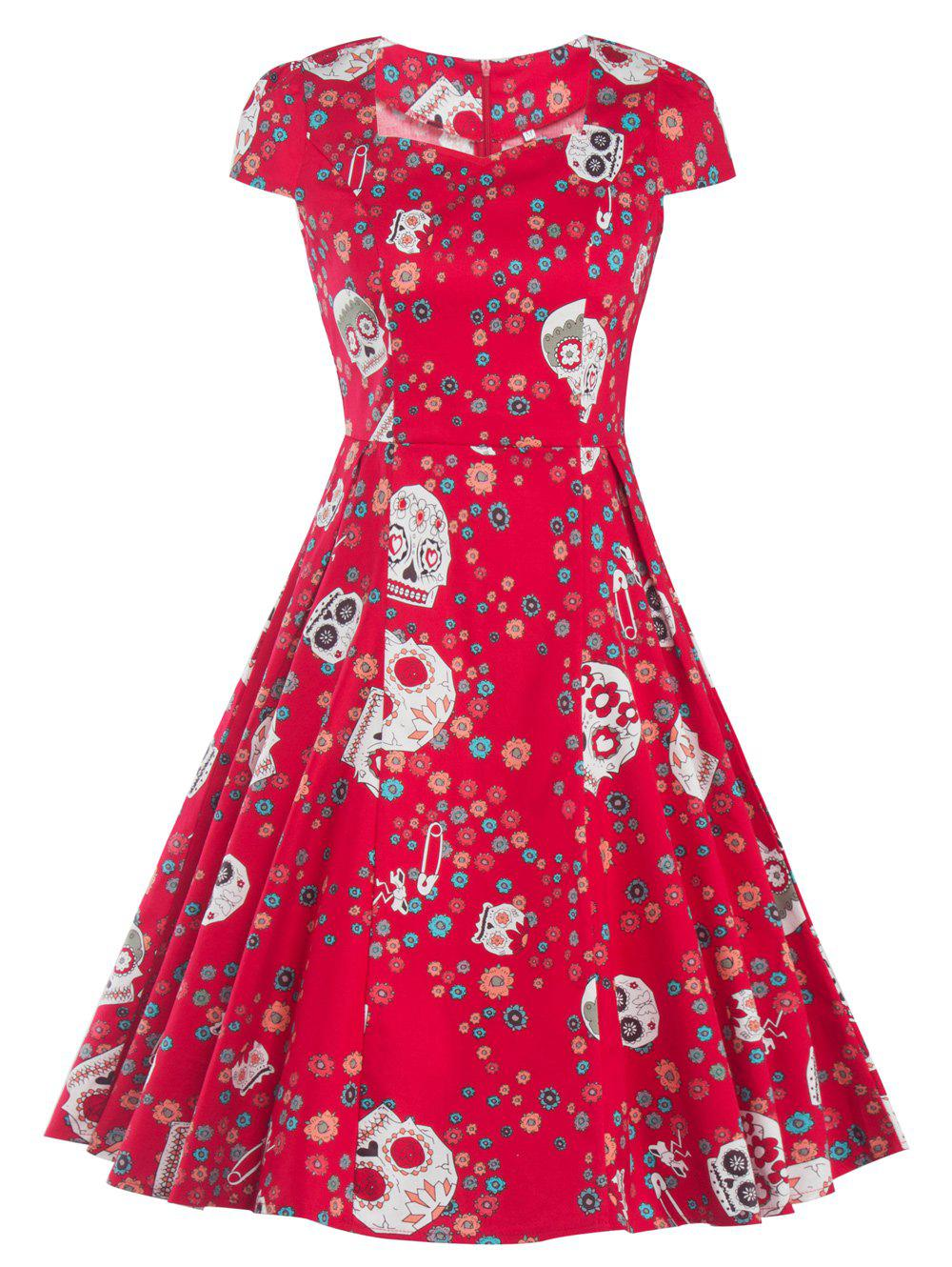 Retro Skull Printed Flare Dress - RED XL