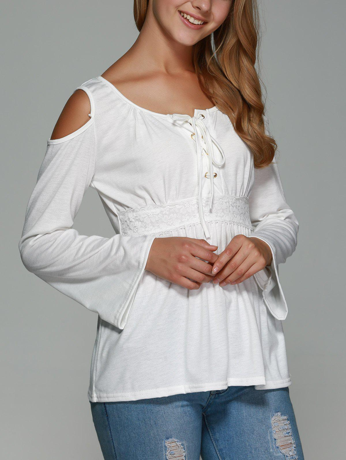 Lace Up Cold Shoulder Bell Sleeve Top - WHITE XL