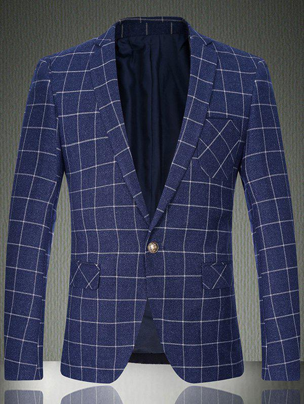 Boutons manches Breast Pocket Grille One-Button Blazer - Bleu clair M
