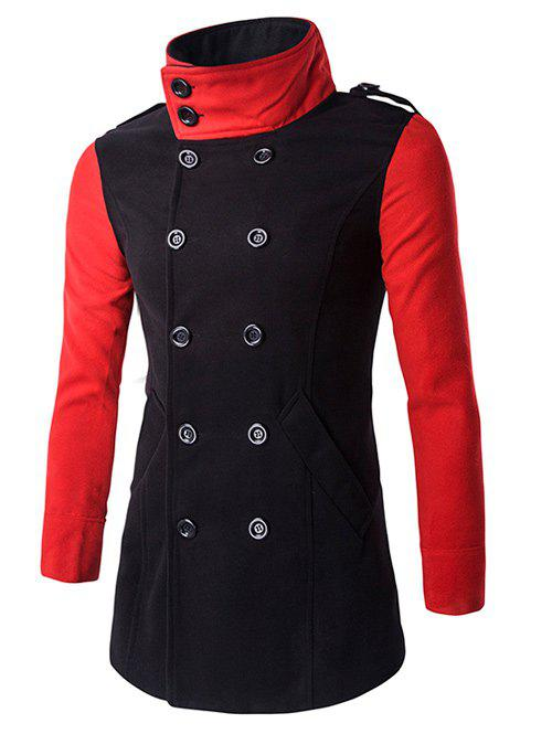 Turn-Down Collar Color Block Splicing Double-Breasted Woolen Coat - BLACK 3XL