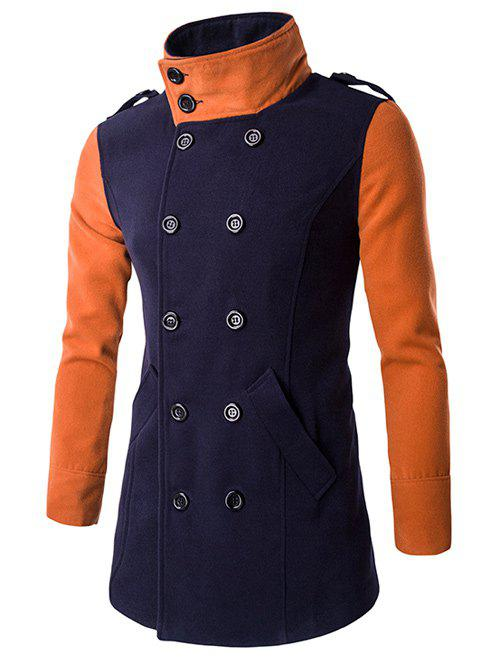 Turn-Down Collar Color Block Splicing Double-Breasted Woolen Coat - CADETBLUE XL