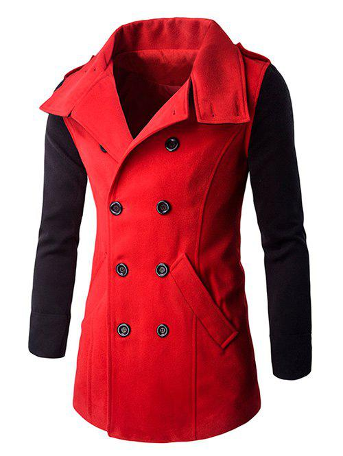Turn-Down Collar Color Block Splicing Double-Breasted Woolen Coat - RED 3XL