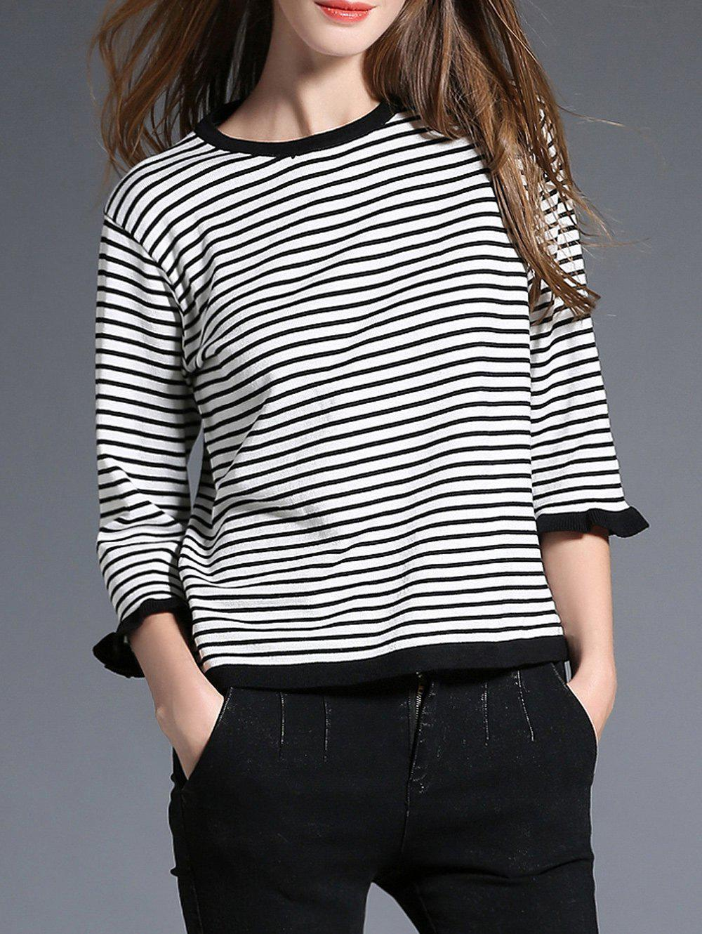 Two Tone Striped Sweater - WHITE ONE SIZE