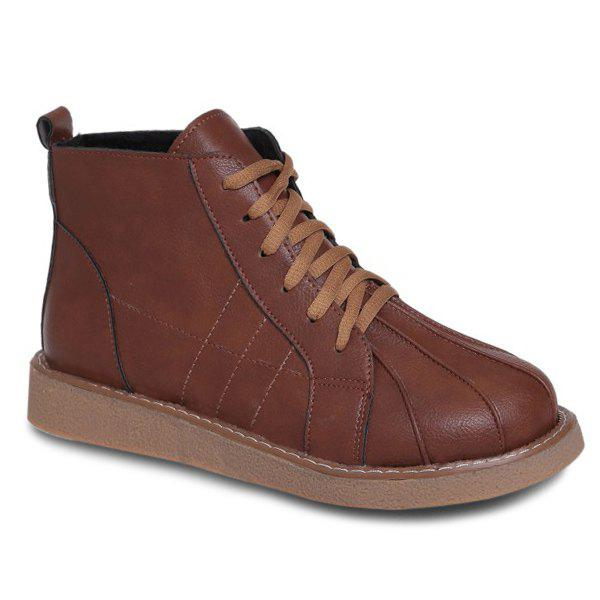 Talon plat à lacets Stitching Bottines - BRUN 39