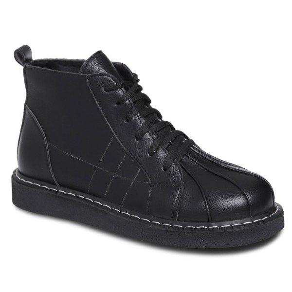 Talon plat à lacets Stitching Bottines - Noir 39