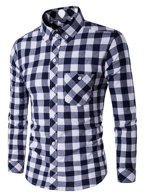 Checked Button-Down Long Sleeves Shirt - WHITE/BLACK M